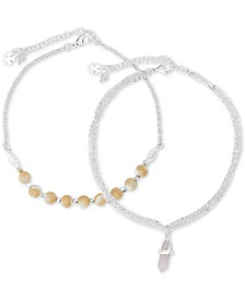 Silver-Tone 2-Pc. Set Mother-of-Pearl Pendant & Bead Ankle Bracelets