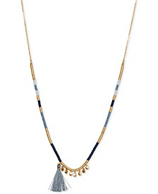 "Gold-Tone Tassel Charm Beaded Strand Necklace, 28"" + 2"" extender"