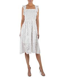 Floral-Appliqué A-Line Midi Dress