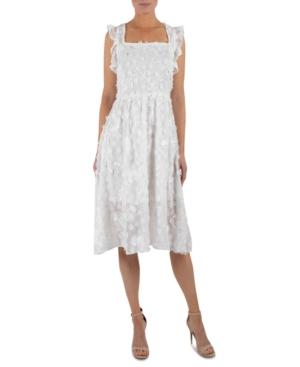 Floral-Applique A-Line Midi Dress