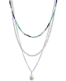 """Silver-Tone Beaded Convertible Layered Necklace, 16"""" + 2"""" extender"""