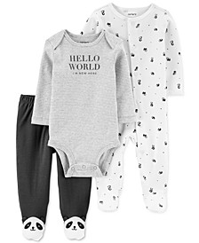 Baby 3-Pc. Cotton Panda Coveralls, Bodysuit & Footie Pants Set