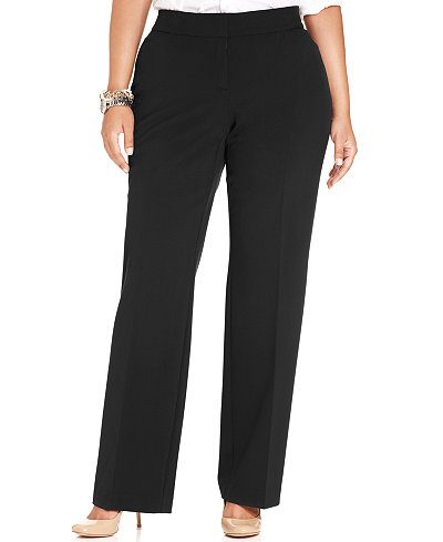 JM Collection Plus Size Curvy-Fit Straight-Leg Pants - Pants ...