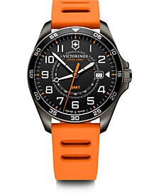 Men's Fieldforce GMT Orange Rubber Strap Watch 42mm