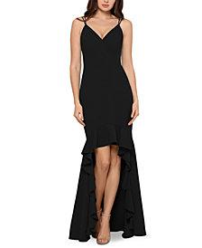 XSCAPE High-Low Flounce Gown