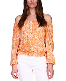 Paisley Off-The-Shoulder Top, Available in Regular & Petites
