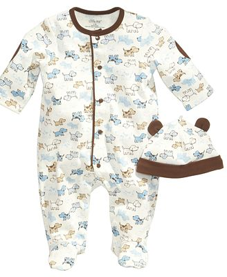 Little Me Baby Set, Baby Boys Cute Puppies 2-Piece Hat and Footed Coveralls