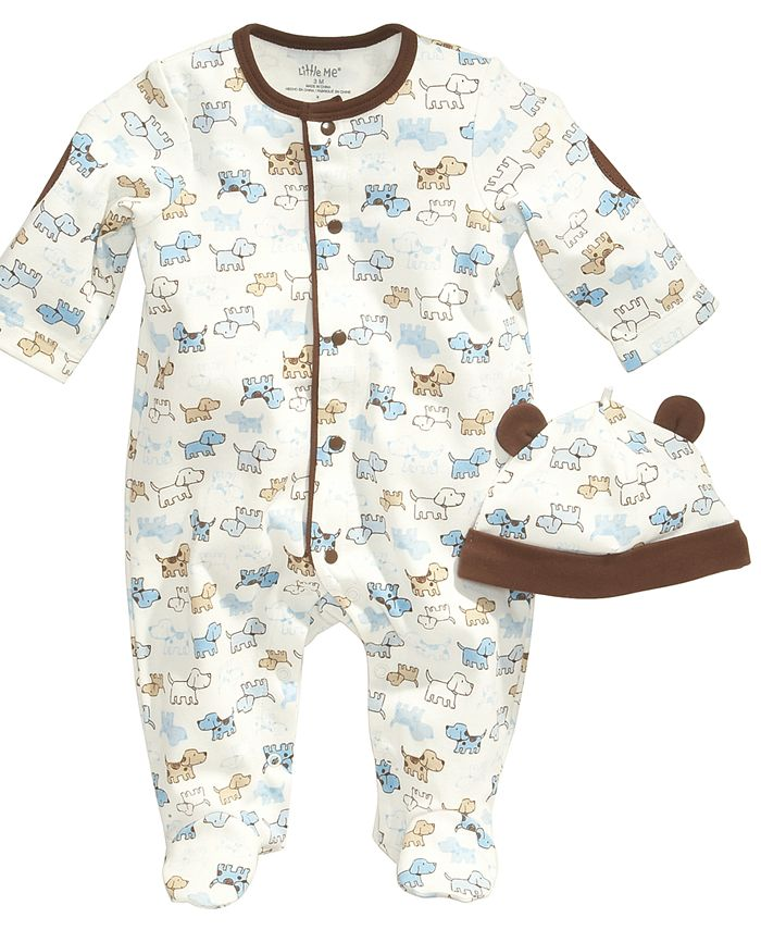 Little Me - Baby Set, Baby Boys Cute Puppies 2-Piece Hat and Footed Coveralls