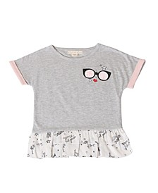 Toddler Girls Asymmetrical Short Sleeve Top