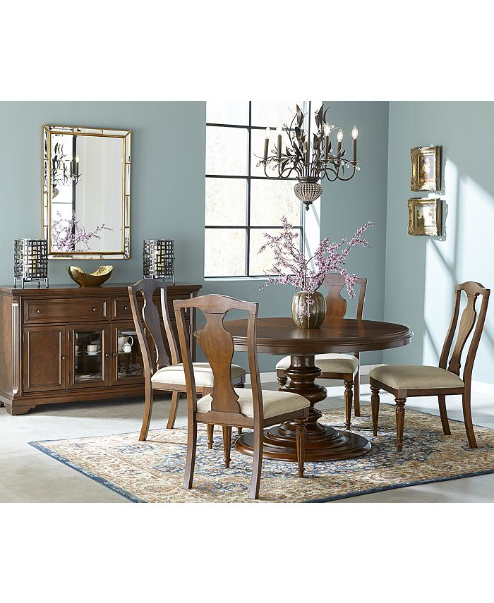Furniture - Orle Round Dining , 5 pc Set (Round Dining Table & 4 Side Chairs)