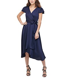 Flutter-Sleeve V-Neck Wrap Dress