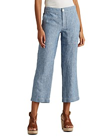 Petite Wide-Leg Chambray Pants