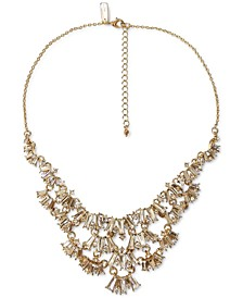 """INC Gold-Tone Round & Baguette-Crystal Fan Statement Necklace, 16"""" + 3"""" extender, Created for Macy's"""