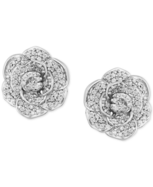 Enchanted Disney Diamond Flower Cinderella Stud Earrings (1/2 ct. t.w.) in 14k White Gold
