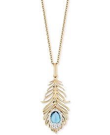 "Enchanted Disney Swiss Blue Topaz (5/8 ct. t.w.) & Diamond (1/10 ct. t.w.) Jasmine Feather Pendant Necklace in 14k Gold, 16"" + 2"" Extender"