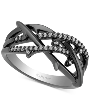 Enchanted Disney Diamond Maleficent Villains Statement Ring (1/6 ct. t.w.) in Black Rhodium-Plated Sterling Silver