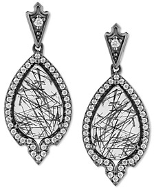 Enchanted Disney Maleficent Villains Diamond (1/3 ct. t.w.) & Rutile Quartz (4 ct. t.w.) Drop Earrings in Sterling Silver
