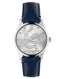 Men's Swiss G-Timeless Blue Calfskin Leather Strap Watch 38mm