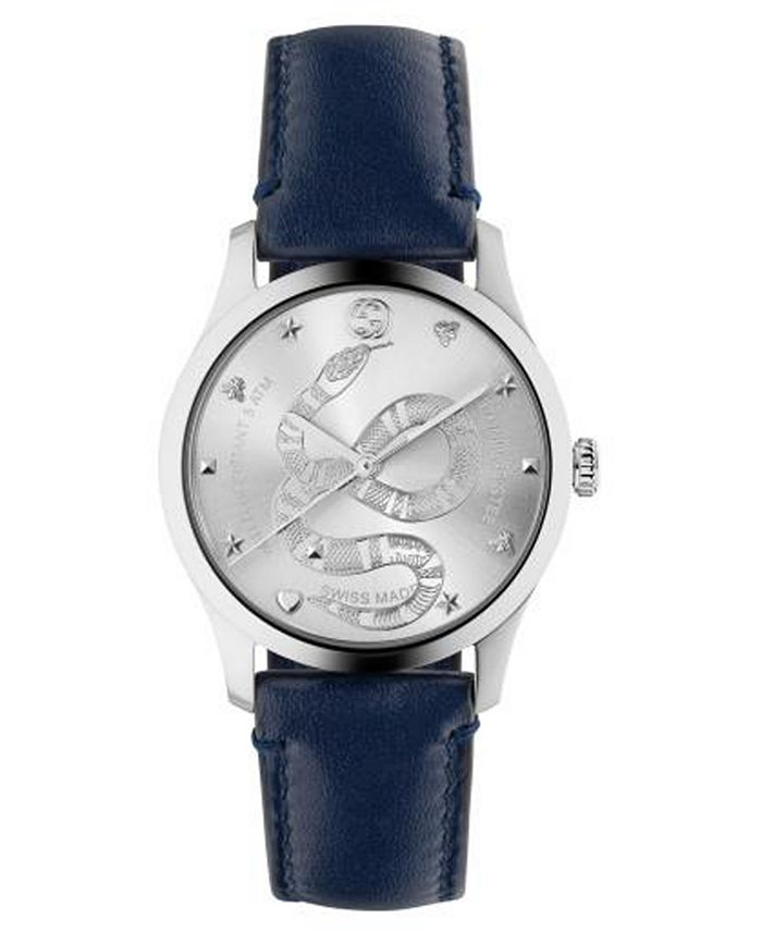Gucci - Men's Swiss G-Timeless Blue Calfskin Leather Strap Watch 38mm