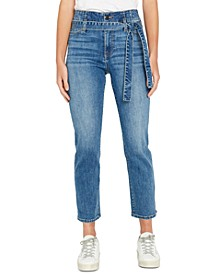 High-Rise Belted Straight-Leg Jeans