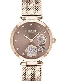 Women's Park Carnation Gold-Tone Stainless Steel Mesh Bracelet Watch 34mm