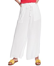 Crinkled Wide-Leg Pants