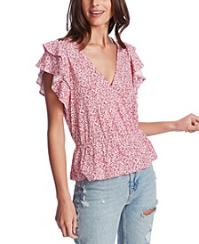 Plus Size Ruffle-Sleeve Floral-Print Top