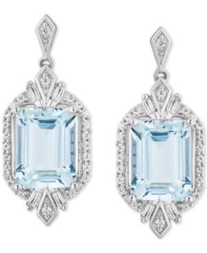 Enchanted Disney Aquamarine (1-1/10 ct. t.w.) & Diamond (1/4 ct. t.w.) Elsa Drop Earrings in Sterling Silver