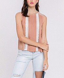 Mesh Yoke Lace Trim Top