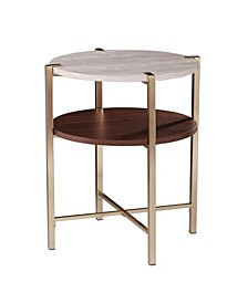 Valera Round End Table with Faux Marble Top