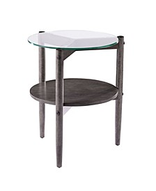 Feore Round Glass Top End Table