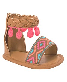 Baby Girls Sandal with Braid Aztec Print