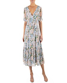 Floral-Print Surplice Midi Dress