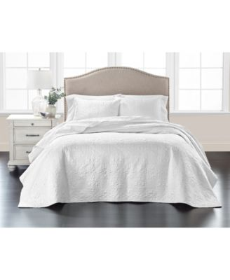 Embroidered Silky Satin Bedspread King , Created for Macy's