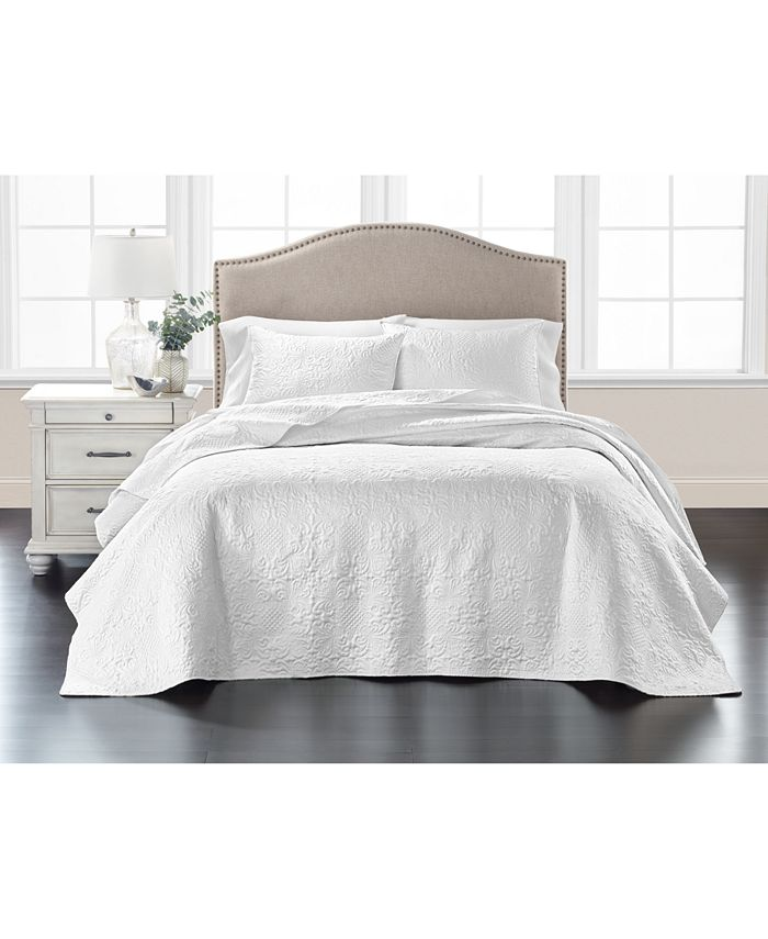 Martha Stewart Collection - Embroidered Silky Satin Bedspread King , Created for Macy's