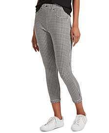 Women's Gingham-Print Ultra Soft Denim High-Waist Capri Leggings