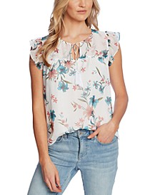 Printed Flutter-Sleeve Top