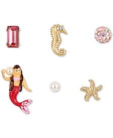 Gold-Tone 6-Pc. Set Crystal & Imitation Pearl Mermaid Mismatch Stud Earrings