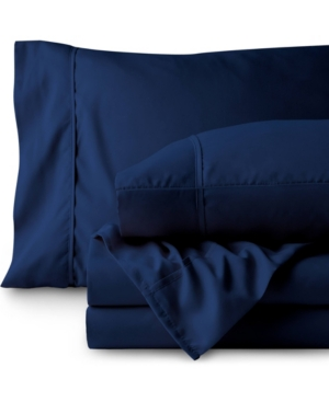Bare Home Double Brushed Sheet Set, Twin Xl Bedding In Navy