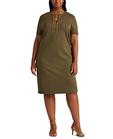 Plus-Size Lace-Up Ponte Shift Dress