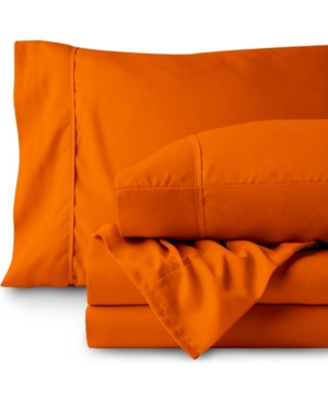 Bare Home Double Brushed Sheet Set, Twin Xl Bedding In Orange