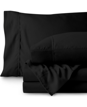 Bare Home Double Brushed Sheet Set, Twin Xl Bedding In Black