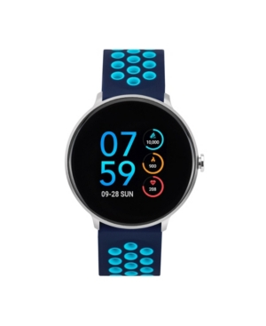 Men's Sport Silver-Tone Case with Navy and Turquoise Perforated Strap 43mm