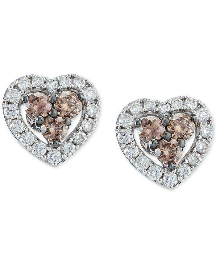 Le Vian - Diamond Heart Stud Earrings (1-3/8 ct. t.w.) in 14k White Gold