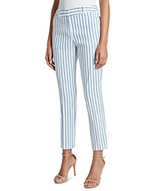 Striped Pleated Linen Ankle Pants
