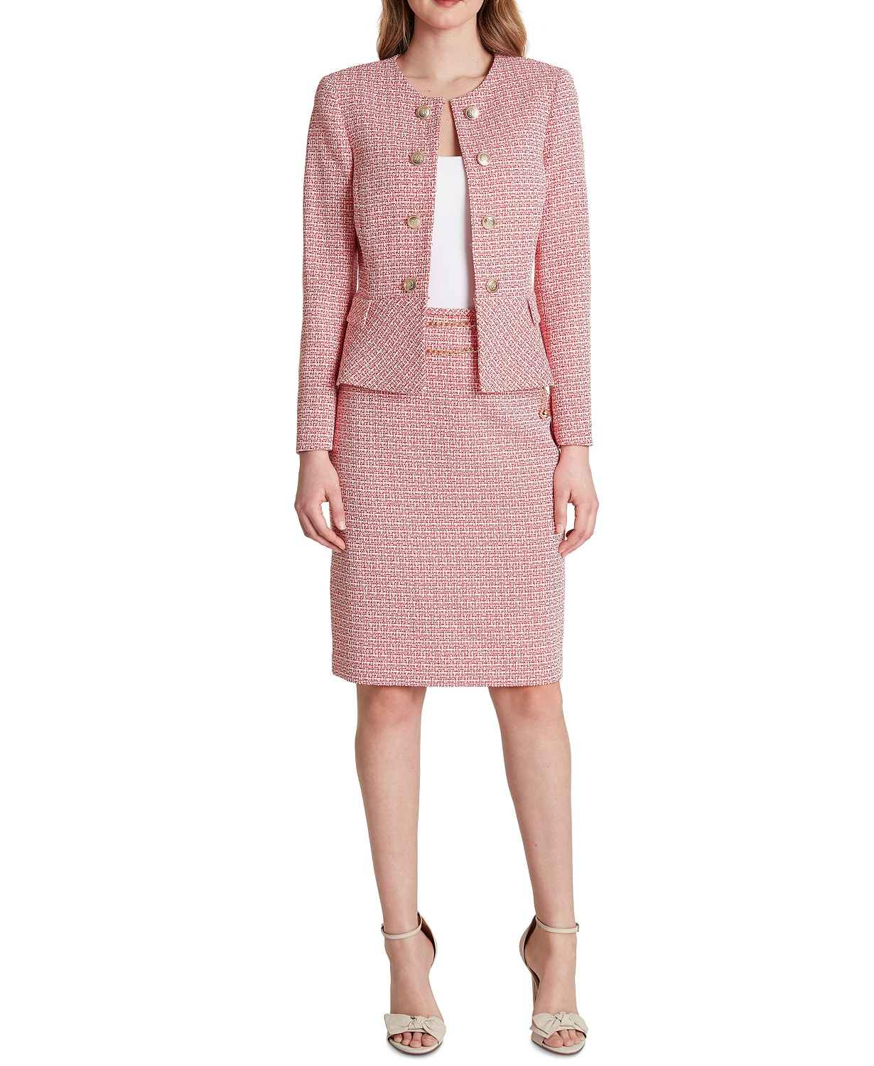Double Breasted Tweed Button-Front Peplum Blazer