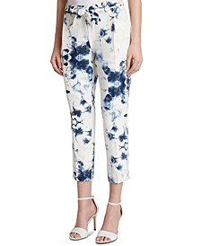 Printed Jacquard Belted Cropped Pants