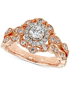 Diamond Halo Engagement Ring (3/4 ct. t.w.) in 14k Rose Gold & White Gold