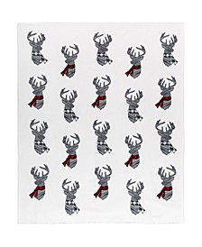 Inc Printed Ribbed Flannel Throws Deer Shield