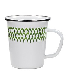 Scallop Enamelware Latte Mugs, Set of 4